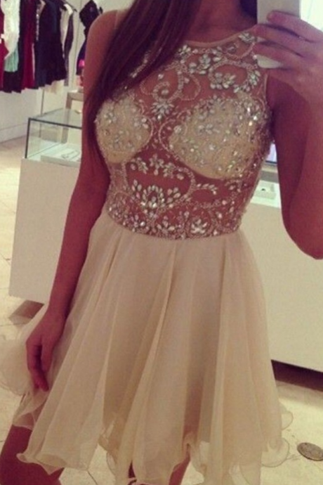 Homecoming Dresses , Zipper-Up Sleeveless Beadings Jewels Mini Homecoming Dress