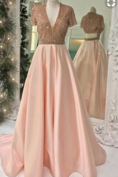 A sexy pink PROM dress, a sexy v-neck ball gown with short sleeves and a long gown.
