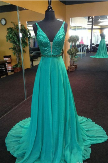 Custom Made Sleeveless Plunging V Beaded Long Prom Dress, Evening Dress