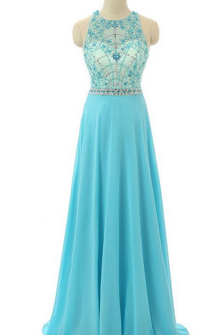 Sky Blue Beaded Prom Dresses,Beading Formal Dresses,Sheer Evening Gowns