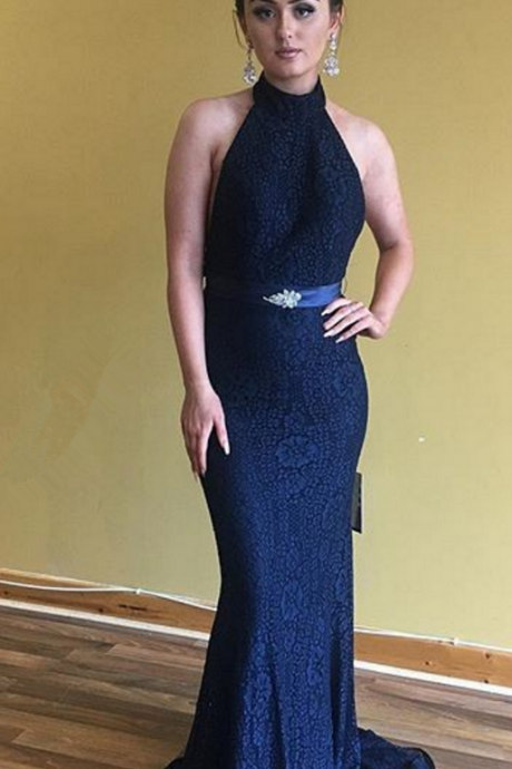 Sexy Open Back Graduation Dress,Mermaid Navy Blue Lace bridesmaid Dress