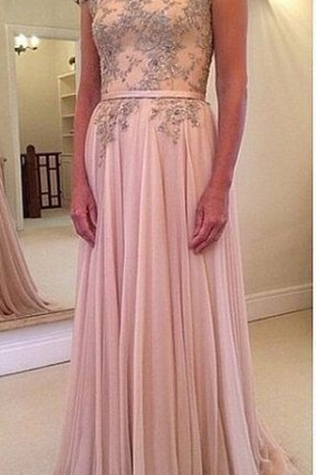 Pink high-necked lace chiffon evening dress.