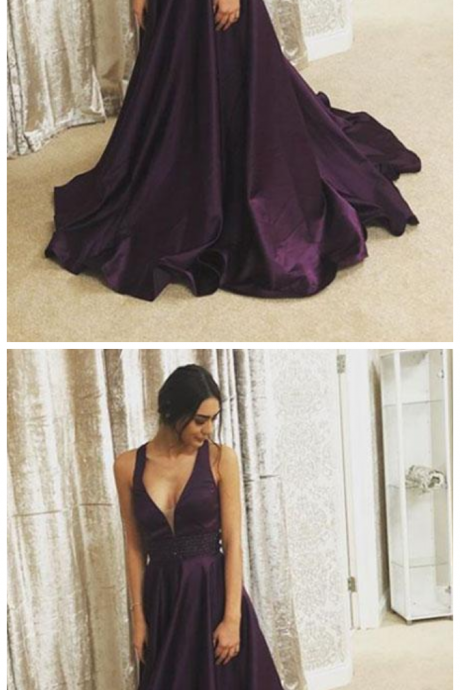 Prom Dresses, evening dress, Purple v neck long prom dress, purple evening dress,PD160