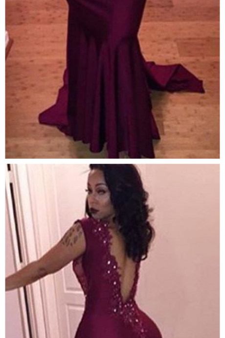 Prom Dresses, evening dress, Burgundy Evening Dress, Mermaid Evening Dress, Lace Applique Evening Dress, Backless Evening Dress,PD1610