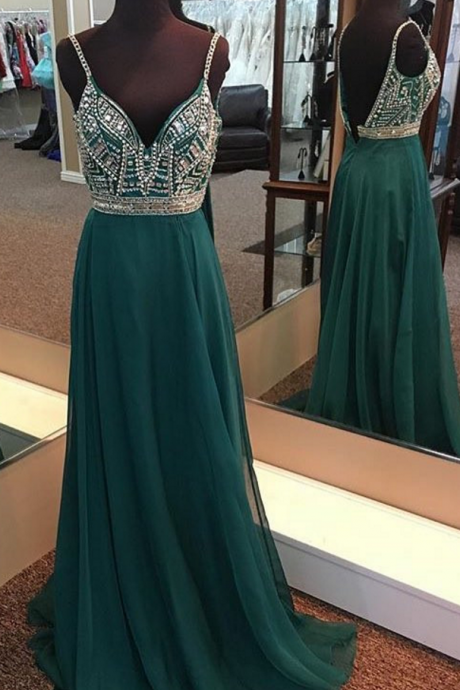green prom dress,long evening gowns,sexy prom dress, v neck prom dress