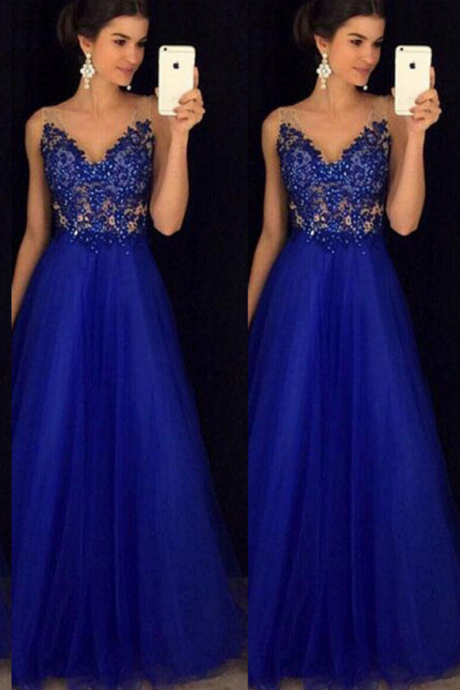 Royal Blue Appliques Sexy Prom Dress,Long Evening Dress,Evening Dress,Sweet 16 Dress,Long Prom Dresses,Prom Dresses