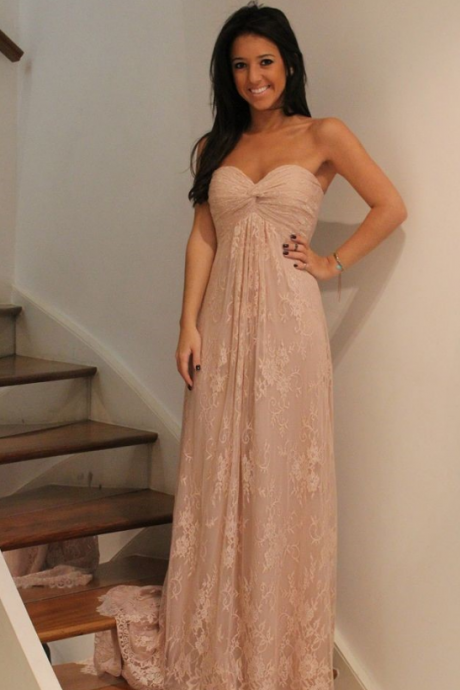 New Charming Prom Dress,Lace Prom Dress,A-Line Prom Dress,Strapless Prom Dress,Long Prom Dress