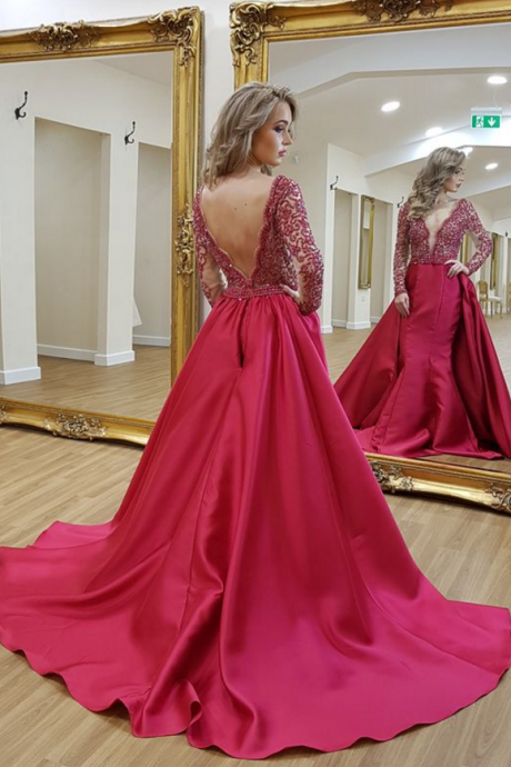 modest red prom dress,v neck long prom dresses with sleeves, unique backless long sleeves evening dresses ,Evening Gown,Beadings Evening Dress,