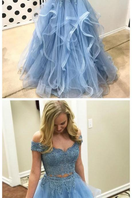 Off the Shoulder Two Piece Prom Dresses,Lace 2 Piece Formal Dresses