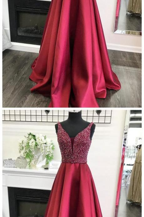 A-line V-neck Beaded Bodice Burgundy Satin Long Prom Dresses