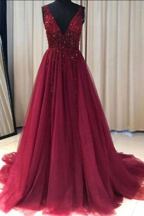 V Neck Beaded Prom Dresses, Sexy Evening Party Dresses, Formal Dresses ,Evening Dresses,Prom Gowns, Formal Women Dress