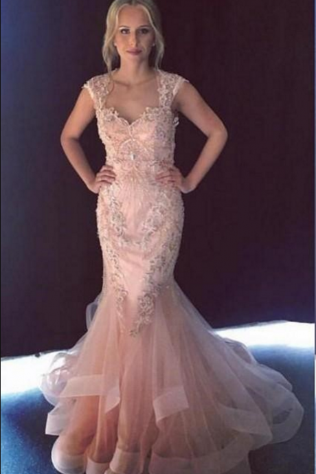 Gorgeous Mermaid Evening Dresses Sweetheart Cap Sleeves Beaded Appliques Tulle Backless Champagne Pink Blue Evening Gowns Prom Dress
