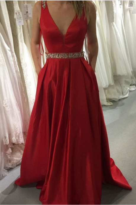 Red Satin Prom Dresses, Long A-line Evening Dresses, V Neck Backless Formal Gowns, Beaded Party Graduation Dresses with Pocket,Floor Length Formal Gowns , New Fashion,Custom Made
