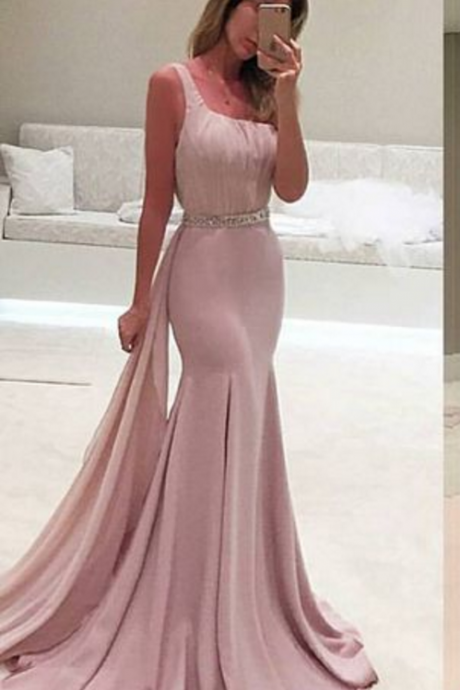 New Style Prom Dress,One Shoulder Prom Dress, Mermaid Gown, Party Dress, Vestidos, Special Ocassion Dress,Satin Evening Dress,Real Made Prom Party Dress
