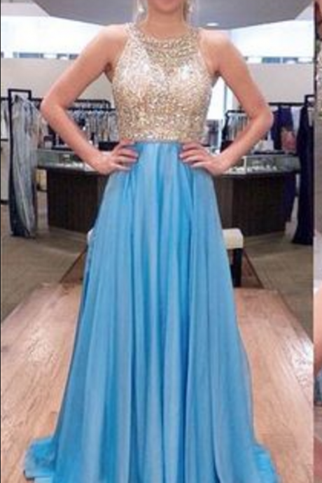 Elegant Prom Dresses, Sexy Backless Beaded Chiffon A line Prom Dress,Elegant Prom Dress,Floor Length Graduation Dress,Formal Dress,Evening Dress