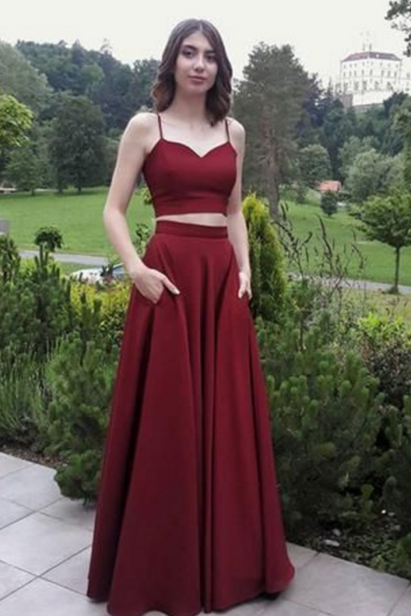 Two Pieces Chiffon Prom Dress with Pockets Skirt,Sexy Sleeveless Formal Evening Dress,Custom Made,Floor Length