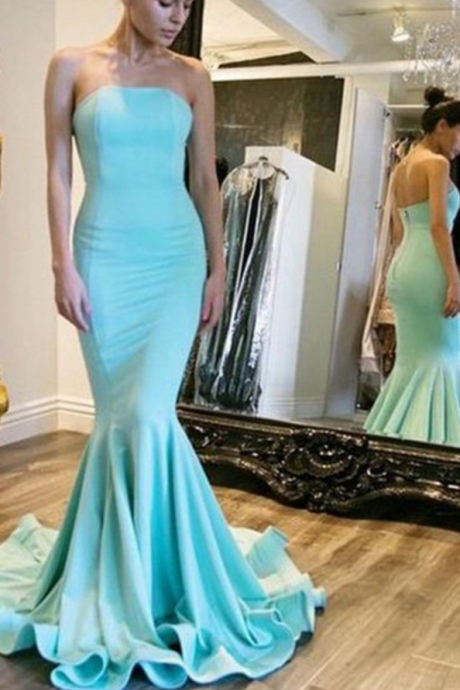 New Arrival Sleeveless Strapless Prom Dress,Open Back Mermaid Evening Dresses, Formal Gown