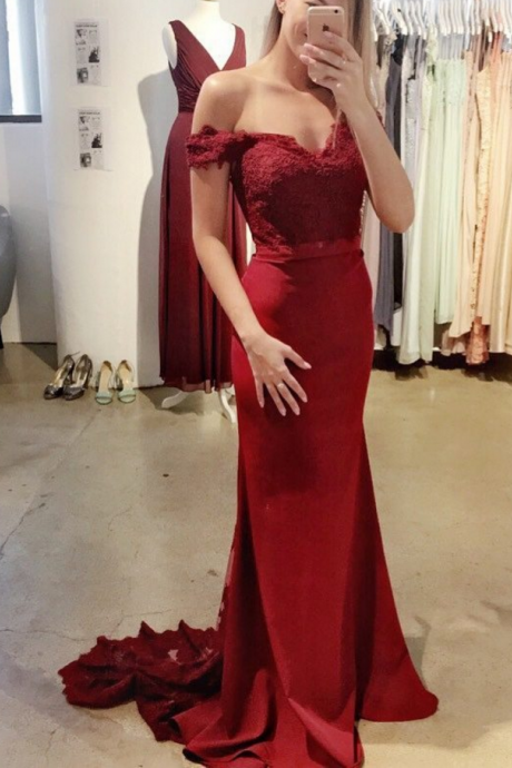 Burgundy Mermaid Prom Dress Occasion Dress