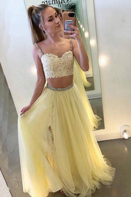 Noble Prom Dress,Two Pieces Evening Dresses,Appliques Prom Dresses,Spaghetti Straps Prom Gown