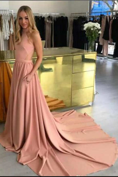 Custom Halter A Line Evening Dresses Fashion Criss Cross Back Long Prom Dresses Special Occasion Dresses Cutaway Hot Vestido De Festa