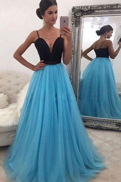 Newest Spaghetti Straps A-Line Prom Dresses,Long Prom Dresses,Cheap Prom Dress,Evening Dresses,Fashion Prom Dress