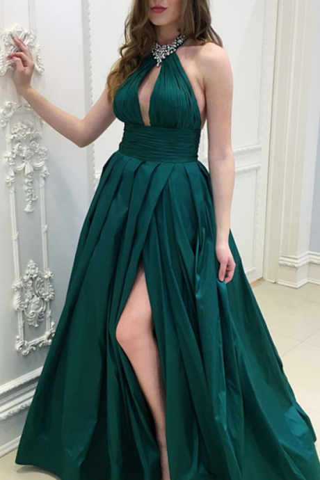 New Arrivals Beaded Halter Prom Dress Dark Green A Line Formal Evening Gown With Side Slit