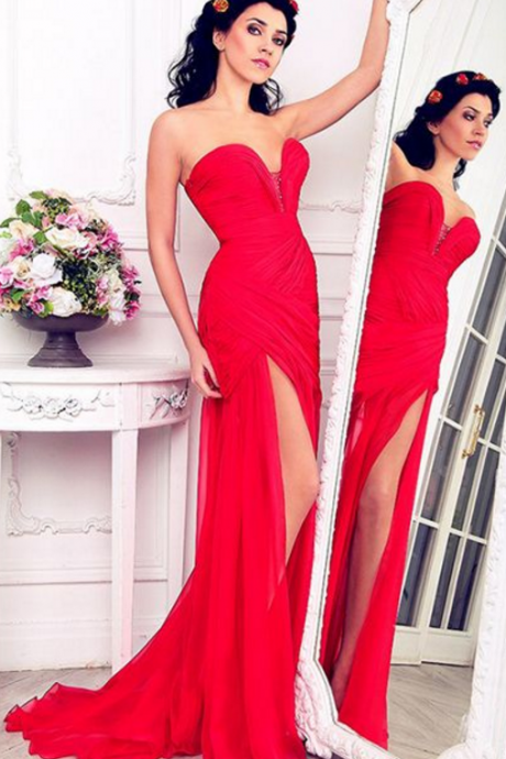 Gorgeous Sweetheart Red Formal Evening Gown Chiffon Long Party Dress With High Slit