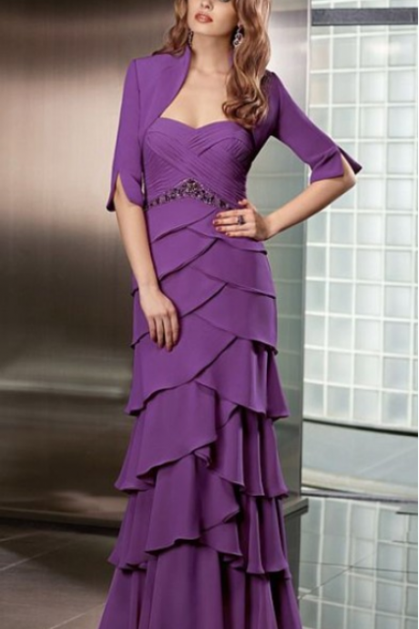 Collection Chiffon Tiered Evening Dress with Jacket