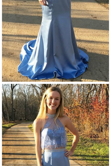 Charming Prom Dress,Satin Prom Dresses,Two Pieces Prom Dresses,Blue Evening Dress,Long Prom Dresses