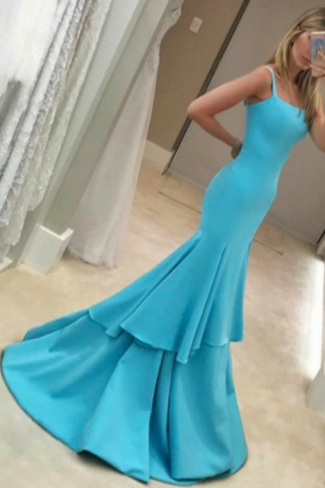 Mermaid Square Sleeveless Sweep Train Blue Stretch Satin Prom Dress with Ruffles