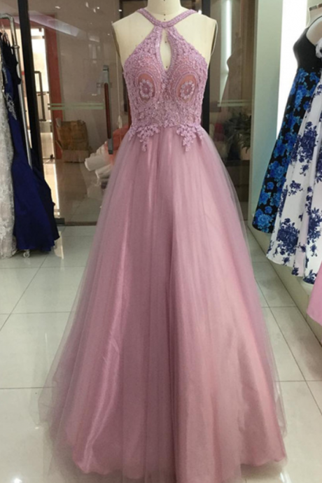 Halter Neck Long A-line Tulle Prom Dress Lace Appliques Floor Length Women Dress