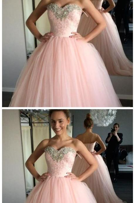 Prom Dress, Sexy Pink Ball Gown Prom Dresses, Sweet 16 Dress, Tulle Quinceanera Dress