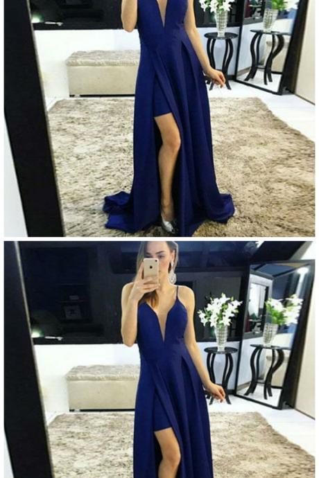 A-Line Spaghetti Straps Sweep Train Royal Blue Satin Prom Dress
