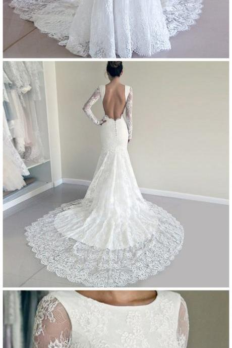 Mermaid Round Neck Long Sleeves Backless Lace Wedding Dress