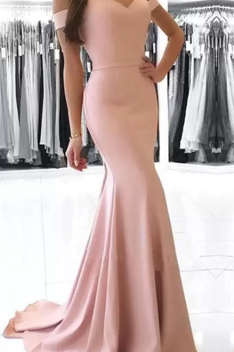 Formal Mermaid Blush Pink Dresses Evening Wear off the Shoulder Sweetheart Satin Prom Party Gowns Custom Made Trumpet Celebrity Gown