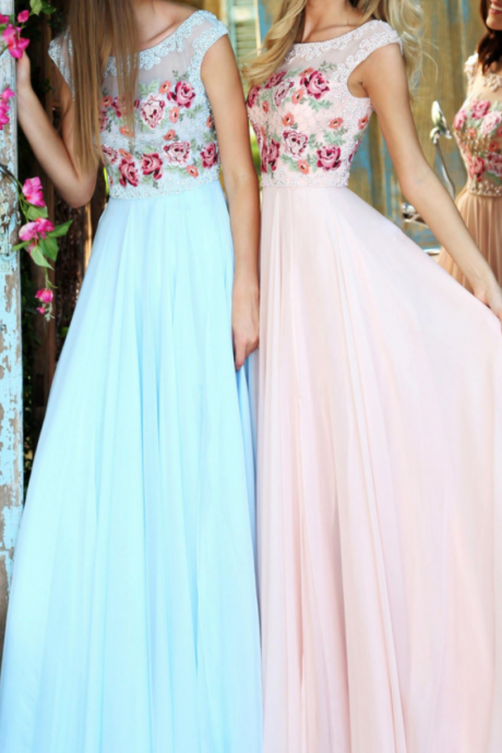 Pretty Tulle Embroidery Prom Dress,Long Beaded Evening Dress,Floor Length Party Dress