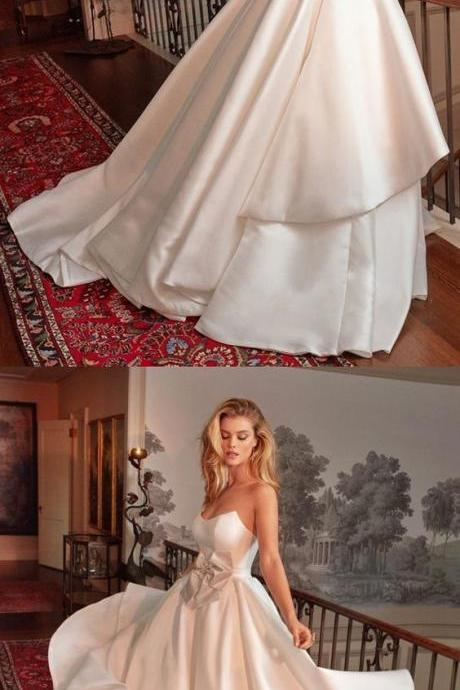 A-Line Strapless Floor Length White Satin Wedding Dress with Bowknot