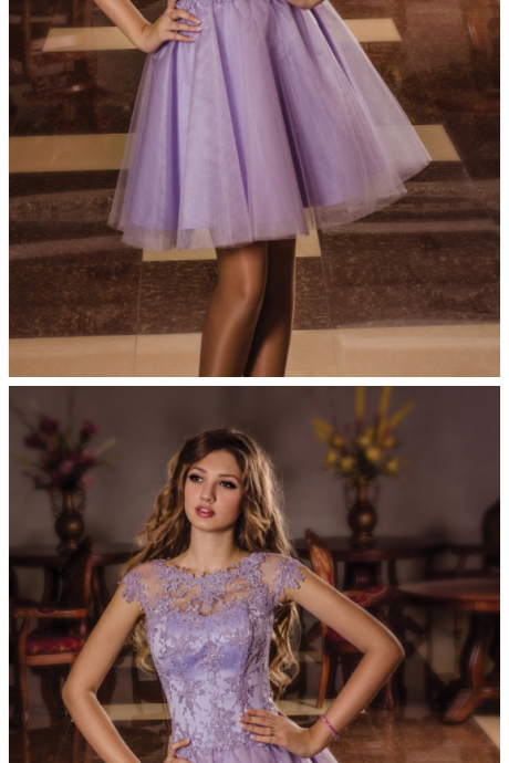 Lavender Homecoming Dress,Short Sleeves Dress,Short Lace Homecoming Dress,Prom Dress, Tulle and Lace Prom Dress, Formal Party Dress,Custom Dress