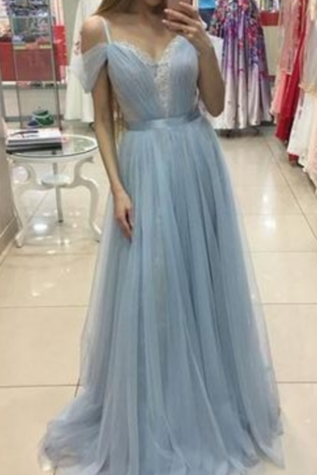 A-line Sweep Train Baby Blue Formal Dress Cap Sleeves Beautiful Straps Tulle Prom Dress