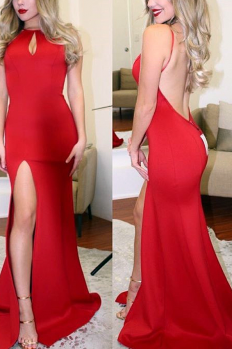 Gorgeous Mermaid Long Red Backless Prom Dress with Slit