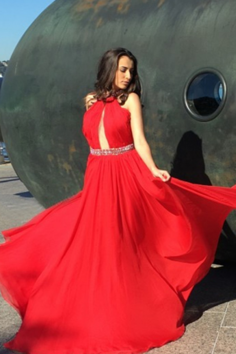 Halter Prom Dress, Beaded Prom Dress, Red Prom Dress, Chiffon Prom dress, A-line Prom Dress, Long Prom Dress, Sleeveless Prom Dress