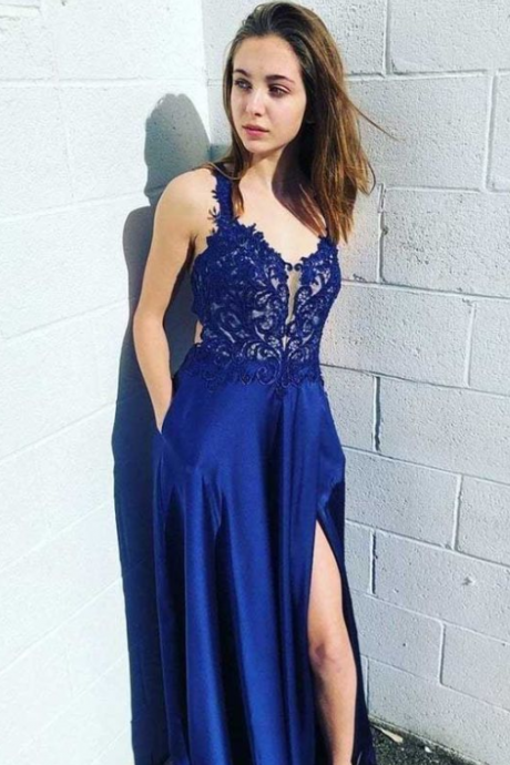 Royal Blue Lace Satin Prom Dresses Side Split Evening Dresses
