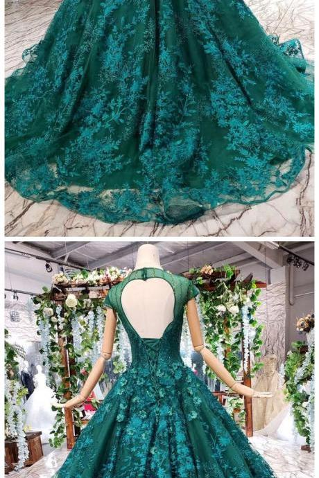 Dark Green Lace Ball Gown Prom Dress With Beads, Quinceanera Dress with Flowers