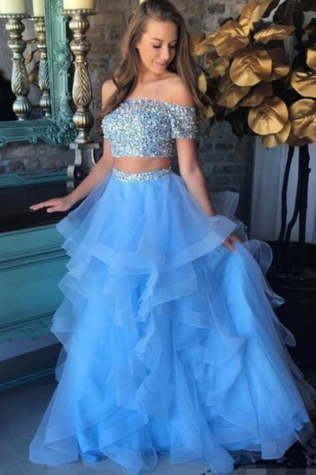 Sky Blue 2 Piece Prom Dresses Off Shoulder Short Sleeve Beaded Tulle Layers Skirt Long Evening Party Formal Wear Girls Homecoming Gown