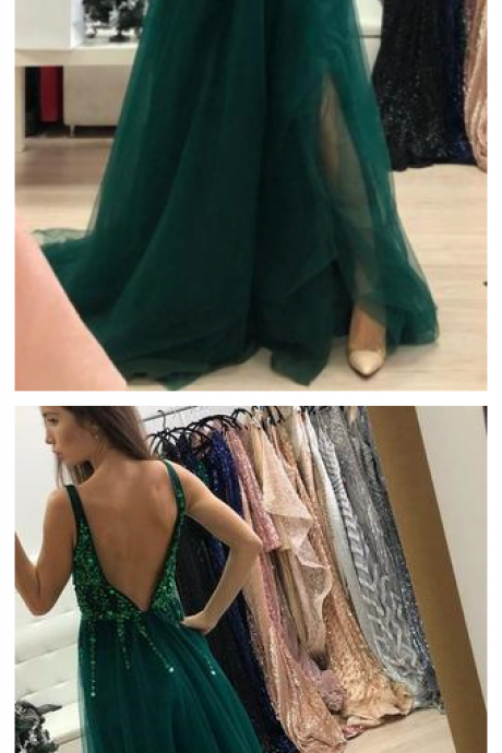 Dark Green Sparkly Prom Dress with Side Slit, A Line V Neck Tulle Long Party Dress