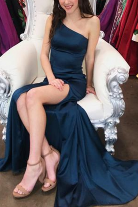 Beautiful Simple Sexy One Shoulder Navy Blue Prom Dress with Slit