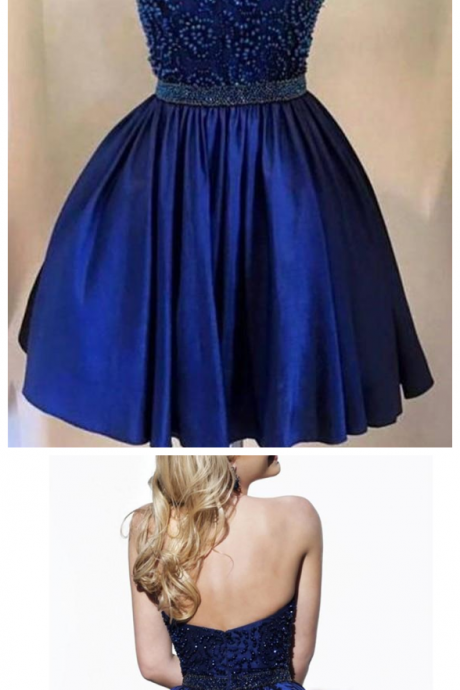 Short Prom Dress,Beading Halter Short Backless Satin Homecoming Dress,Cocktail Dress