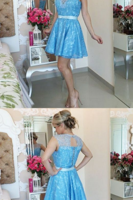 A-Line Jewel Open Back Blue Lace Homecoming Prom Dress with Sash