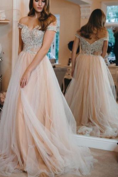 Princess Off the Shoulder Pink Long Prom Dress with Silver Appliques, Elegant Prom Dress