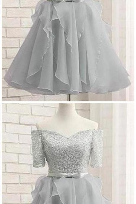 Silver Off Shoulder Lace A Line Prom Dresses Short Homecoming Dresses